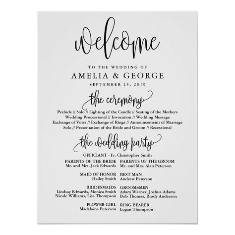Wedding Gifts Diy Welcome wedding program sign - script gifts template templates diy customize personalize special - This is a beautiful portrait poster welcome wedding program sign featuring script text. Wedding Program Sign, Elegant Wedding Programs, Wedding Welcome Signs, Wedding Invitations, Wedding Ceremony Programs, Invitations Online, Wedding Stationary, Wedding Processional Order, Wedding Affordable