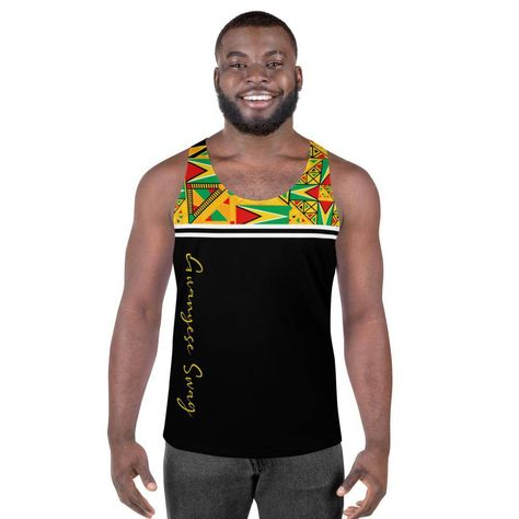Our Guyanese Swag Guyana Flag Tribal Print Men's Tank Top has everything you could possibly need – vibrant colors, soft material, and a relaxed fit that will make you look fabulous! This tank tap vest is just what you need to represent your Guyanese Swag at the next Mashramani, Caribbean Carnival, Jouvert, or Caribana. • 95% polyester, 5% elastane (fabric composition may vary by 1%) • Fabric weight: 6.19 oz/yd² (210 g/m²) • Comfortable, stretchy material that stretches and recovers on the cross