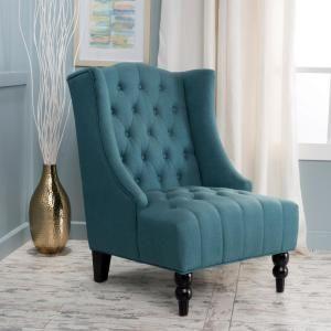Fantastic Noble House Toddman Dark Teal Fabric High Back Accent Chair Machost Co Dining Chair Design Ideas Machostcouk