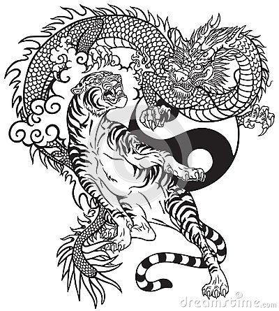 Chinese Dragon Versus Tiger Black And White Tattoo Vector Illustration Included Yin Yang Symbo Dragon Tiger Tattoo Dragon Tattoo Images Chinese Dragon Tattoos