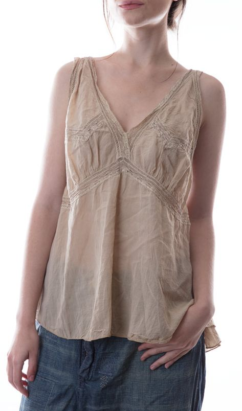 Magnolia Pearl Cotton Silk Lille Lounging Camisole With Lace Inse