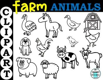 Farm Animals Clipart By My Visionary Designs Teachers Pay Teachers Animal Clipart Farm Animals Clip Art