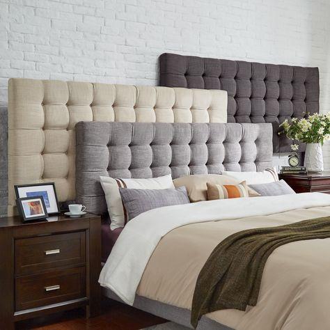 Briella Button Tufted Linen Upholstered Headboard iNSPIRE Q Modern (Dark Grey Linen King)