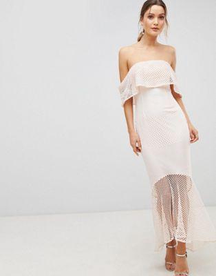 double coupon prix plancher aperçu de C By Cubic Lace Bandeau Fishtail Maxi Dress With Frill ...