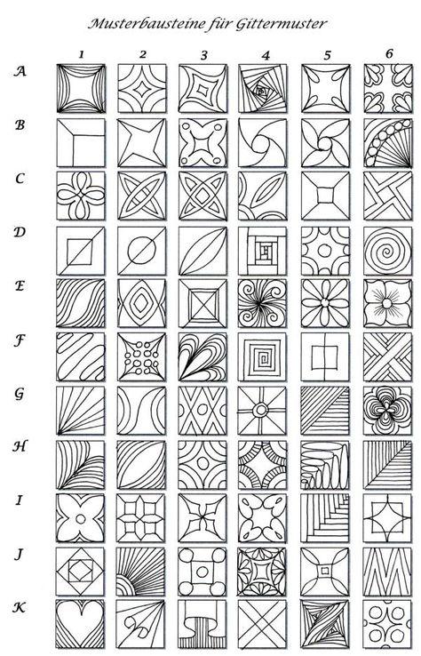 ideas, designs for clay or glass. Eine interessante Musterwahllösung für Gittermuster