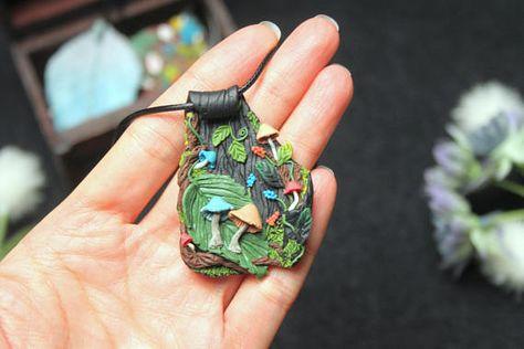 Pate Polymere Enchante Collier Jardin Inspire Par La Nature Et