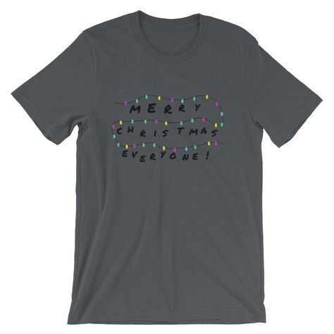 Funny Merry Christmas Stranger Things Inspired Shirt - Asphalt / S