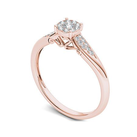 1 6 Ct T W Diamond 10k Rose Gold Engagement Ring Rose Gold Engagement Ring Rose Gold Engagement Gold Engagement Rings