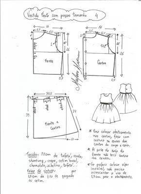 Patrón De Vestido De Fiesta Para Niña Con La Falda Plisada Tallas Desde 1 Año A 14 Años Kids Patterns Kids Dress Patterns Baby Clothes Patterns