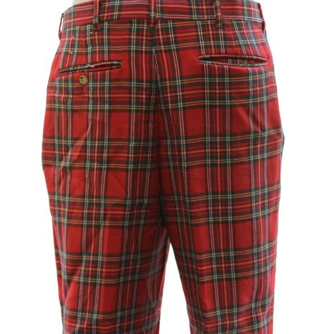 a21827e6335bc Orvis Mens Red Tartan Plaid Worsted Wool PANTS TROUSERS Made USA 34 x 32  Cuffed #Orvis #CasualPants
