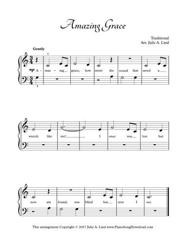 Amazing Grace Easy Hymn Piano Sheet Music To Print With Lyrics