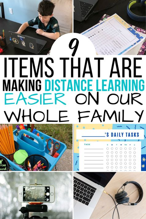 There are certain essential supplies for distance learning that we find ourselves using over and over again. Home Learning, Learning Resources, Learning Spaces, Learning Stations, Work Stations, Learning Organization, Home School Organization, Homework Organization, Kids Homework Station