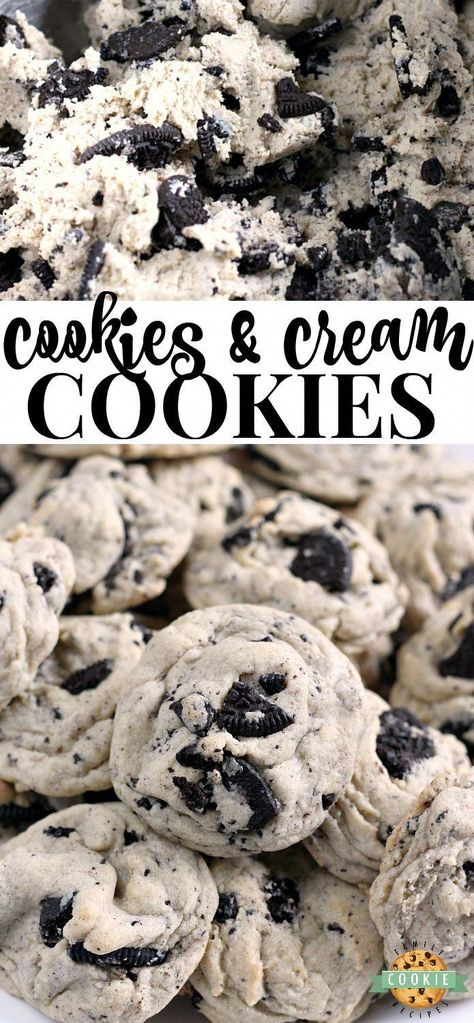 Cookies & Cream Cookies are made with pudding mix and Oreo cookies for a perfectly soft and chewy cookie that is sure to be a favorite! #cookies #oreo #baking #dessert #recipe from FAMILY COOKIE RECIPES #vegetarianrecipe