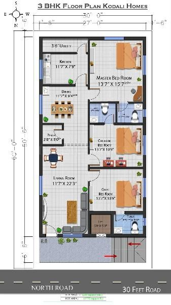 Buy 3 Bhk Flat Apartment In Diwancheruvu Rajahmundry 1770 Sq Ft Posted By Owner Right Opposite B 30x50 House Plans Budget House Plans Bungalow Floor Plans