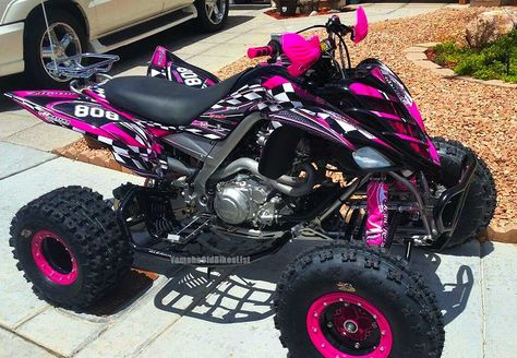 nice Yamaha Raptor - Dream Vehicle Check more at autoboard. Triumph Motorcycles, Vintage Motorcycles, Pink Four Wheeler, E Quad, Bike Motor, Motocross Girls, Dirt Bike Girl, Pink Dirt Bike, Big Girl Toys