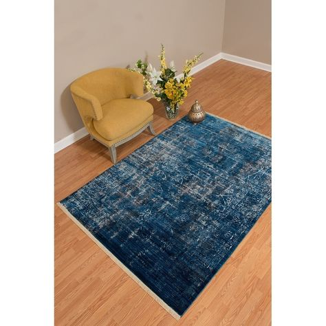 Westfield Home Moravia Nile Distressed Midnight Blue Cream Fringed Area Rug 5 3 X 7 6 Midnight Blue Area Rug Blue Area Rugs Midnight Blue