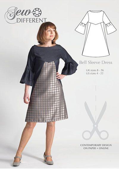 Colourblock dress sewing pattern for women. Multi size pattern on ...