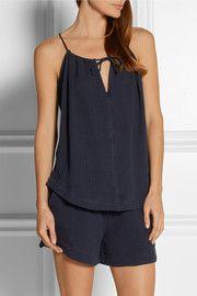 56aa3765bbd198 Skin - Crinkled Cotton-blend Gauze Pajama Shorts - Cream