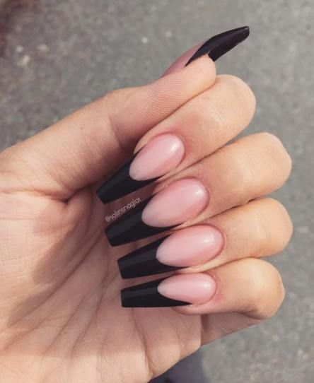 Nails French Tip Ballerina 38 Ideas French Tip Acrylic Nails Long Acrylic Nails Black Acrylic Nails