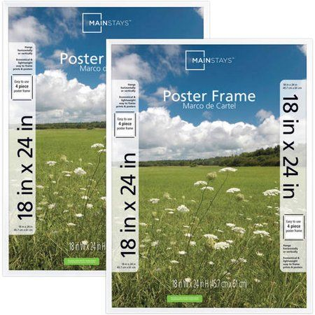 Mainstays 18x24 Basic Poster Picture Frame White Set Of 2 Walmart Com Poster Frame Plastic Picture Frames White Picture Frames