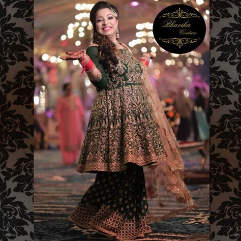 Style and design and trend would be at the peak of your attractiveness after you attire this arresting  Garara suit with Heavy embroidery on bottle green gorgette With heavy gold dupatta.😍😍😍  Please drop by WHATS-APP NOW-#9818116432  . #9818116432  #delhioutfit #designer #oufits #colors #goldendupatta  #gararasuit #suits  #handworked #grabsoon #offer #hurryup #delhidesigner #bhavikacouture #freesize #bhavikacouture