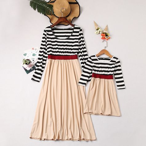 d17428279 Pretty Color Blocked Long-sleeve Dress for Mommy and Me | PatPat ...