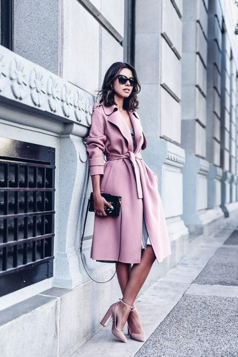 May be one of my favorite outfits of all time - pink trench coat that was the perfect shape paired with a silk slip dress underneath and a pair of velvet pink heels