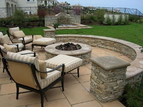 awesome patio pics | Exterior, Amazing Round Fire Pit With Stone Around And Cool Grey Patio ...