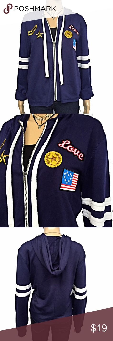 Sporty Zip Up Hoodie Keep warm with this stylish, sporty hoodie. Military style decorative patches are on the front and two stripes are on each sleeve. Raw hem. Navy color with white zipper and tie accents. It's a lightweight and perfect for jazzing up your favorite tee. New with tags, never worn. Comfy, soft jersey material. 63% polyester, 34% rayon, 3% spandex. Runs small (juniors). Measurements taken laid flat and zipped: 22 1/2 inch bust. 23 inch waist. 23 inches shoulder to hem. 18…