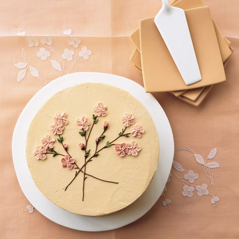 This beautiful cake is an ode to spring, with piped buttercream icing showing the loveliness of a cherry tree coming into bloom. Pretty Birthday Cakes, Pretty Cakes, Beautiful Cakes, Amazing Cakes, Cake Birthday, Birthday Cake Decorating, Easy Cake Decorating, Mini Cakes, Cupcake Cakes