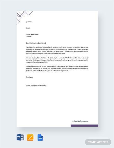 Free Noise Complaint Letter to Property Manager | Job hints