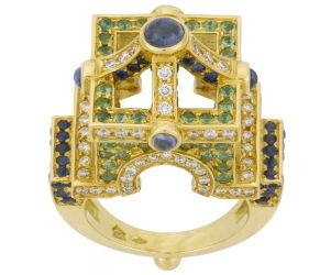 18K Stupa Ring with Blue Sapphires, Tsavorites and Diamonds