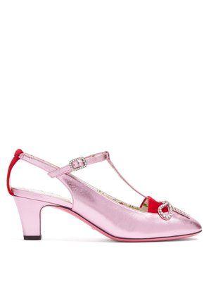 0e48de08538 Anita crystal-bow embellished T-bar leather pumps | Gucci ...