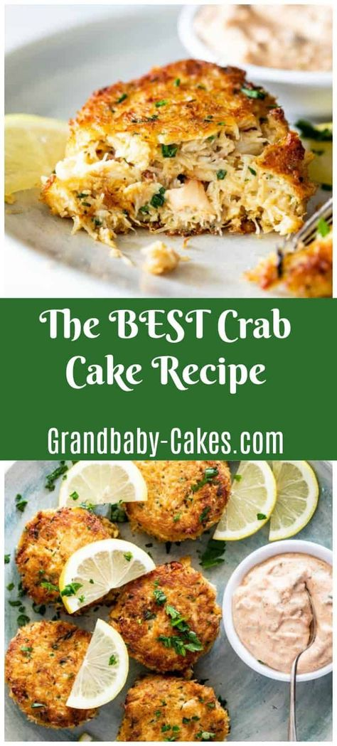 This authentic Crab Cake recipe is packed with flaky fresh crab meat, just a lit. This authentic Crab Cake recipe is packed with flaky fresh crab meat, just a little panko texture, Seafood Appetizers, Seafood Dinner, Appetizer Recipes, Dinner Recipes, Simple Appetizers, Seafood Meals, Breakfast Recipes, Crab Cake Recipes, Crab Cakes Recipe Best