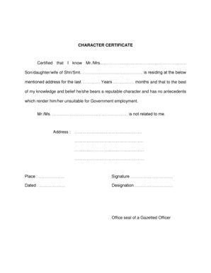 Railway Character Certificate Format Certificate Format Photo