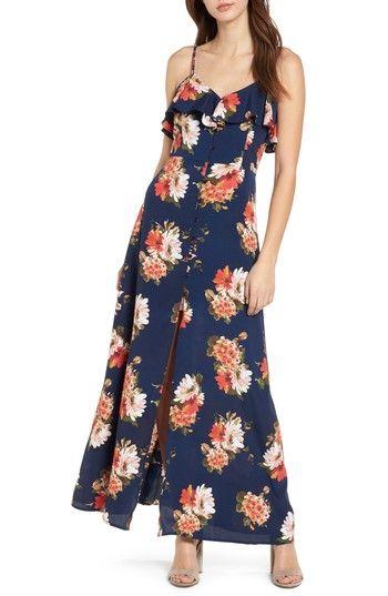 Band of Gypsies Womens Black Floral Pint Long Dress Casual Dress XS BHFO 4766