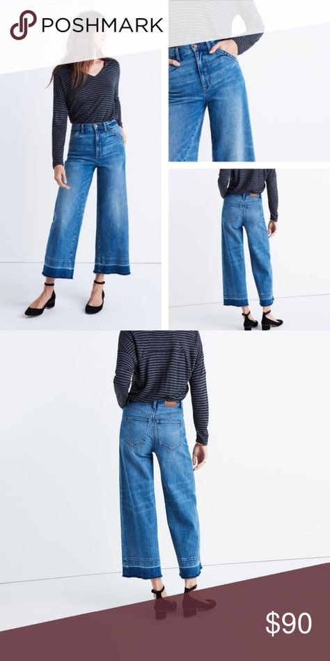 a97aa92d8ad20 NEW Madewell Wide Leg Crop Jeans Drop Hem Madewell Medium Indigo Wash Crop  Drop-hem Edition Trouser Wide Leg Jean These Madewell jeans are high  waisted with ...