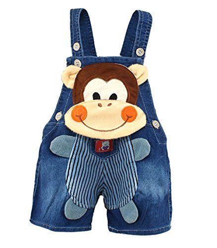 Toddler Kids Boys Girl Mickey Monkey Cartoon Denim Pants Overalls Cute Jumpsuits