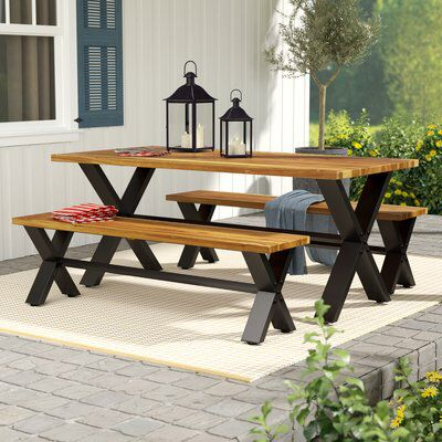 Petronella 3 Piece Teak Dining Set Patio Dining Set Rustic Outdoor Furniture Outdoor Farmhouse Table