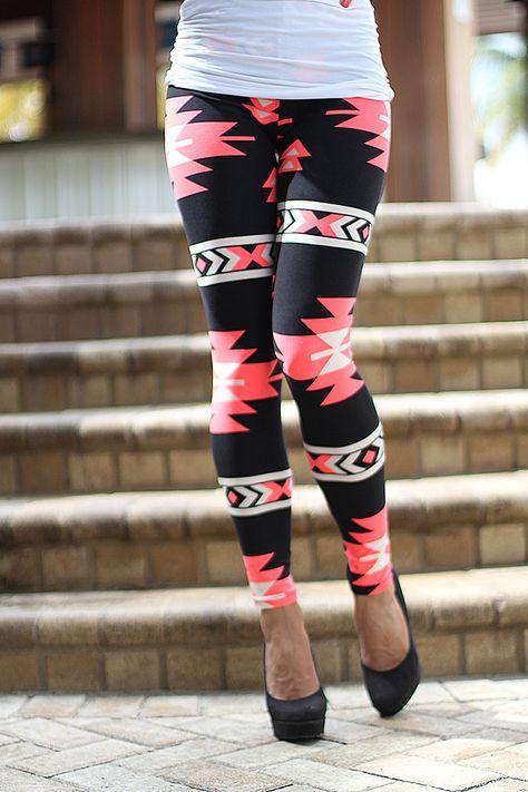 fcf9dd7cc4bdf Black And Neon Pink Tribal Print Leggings | Leggings – Saved by the Dress