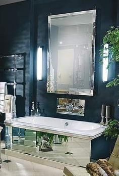 Salle de bains de luxe-design-avec- des tuiles décorées robinet-et ...