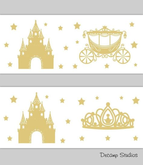 PRINCESS ROOM DECOR Baby Girl Gold Wallpaper Border Wall Art Decals Kids Stickers - Castle Carriage Coach Crown Tiara Stars Silhouette #crowntiara PRINCESS ROOM DECOR Baby Girl Gold Wallpaper Border Wall Art Decals Kids Stickers - Castle Carriage Coach Crown Tiara Stars Silhouette    How should I decorate the nursery?  One of the things that needs to be done is to prepare a room for this tiny in... #Art #Baby #Border #Decals #Decor #Girl #Gold #Kids #Princess #Room #Sticker #Wall #Wallpaper