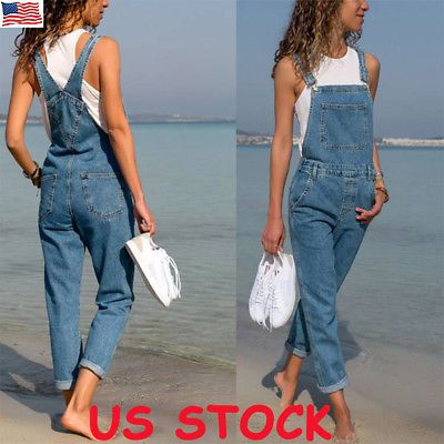 Girls Dungaree Full Length Jumpsuit Pinafore Denim Overalls Slim Fit Jeans