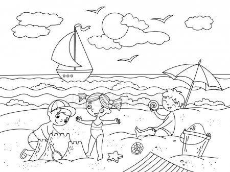 Ninos Nadando En La Playa Y Jugar Con Ilustracion De Juguetes Mar Playa Ninos Juguete Pajaro Arena Helado Y V Black And White Children Illustration Sand