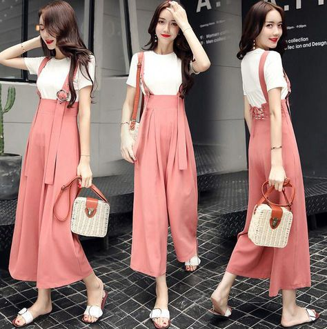 Womens Chic Wide Leg Loose Suspender Pants Overalls Trousers Leggings Casual Yh #womensfashioncasualleggings
