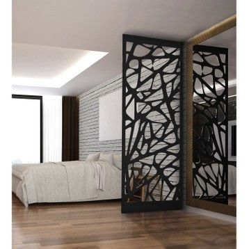 Cloison De Separation Graphik Acier Noir Living Room Partition Design Gold Wallpaper Living Room Living Room Decor Apartment