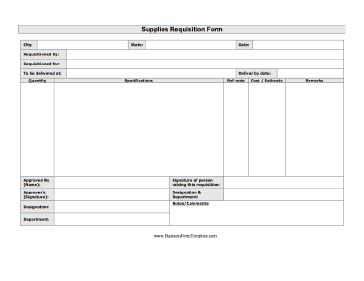 This Printable Supplies Requisition Form Includes Room For Details