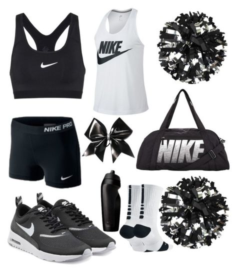A fashion look from September 2017 featuring NIKE tops, NIKE sports bras and NIKE socks. Browse and shop related looks. Cheer Practice Outfits, Cheer Outfits, Sporty Outfits, Nike Outfits, Athletic Outfits, Cheer Clothes, Cheerleading Outfits, Cheerleading Chants, Gymnastics Outfits