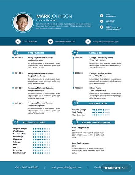 Modern Project Manager Resume Cv Template Word Psd Apple Pages Publisher Project Manager Resume Manager Resume Cv Template Word