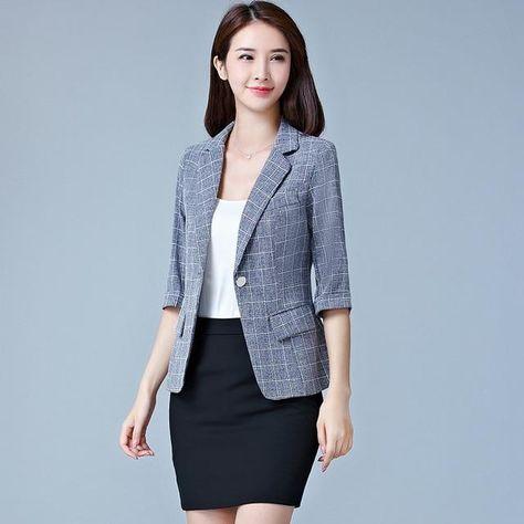 2019 New Korean Style Short Blazer Women Short Sleeves Slim Casual Plaid Suit Jacket